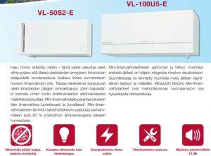 Mitsubishi jälkiasennusilmavaihtokone VL-100U5-E Home VOC Oy