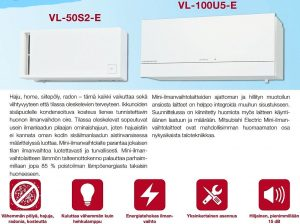 Mitsubishi jälkiasennusilmavaihtokone VL-100U5-E Home VOC Oy_LI